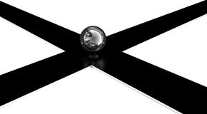 3d crossroads. And chrome ball Royalty Free Stock Photography