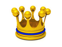 3D crown gold blue. Golden crown on white ground stock illustration