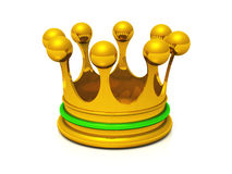 3D crown gold green. Golden crown on white ground royalty free illustration