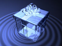 3d crystal present box on waving water Stock Photography