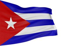 3D Cuban flag. With fabric surface texture. White background royalty free illustration