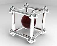 3D cube. With a red center Royalty Free Stock Image