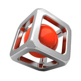 3D cube. 3d metal cube with orange ball inside Royalty Free Stock Photo