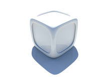 3D cube. White 3D cube with rounded corners and edging on white background Stock Images