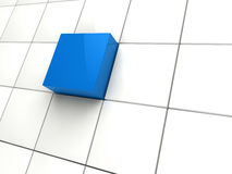 3d cube blue area. 3d cube blue white area square abstract Stock Photo