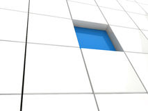 3d cube blue area Stock Photography