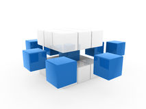 3d cube blue white. Square business concept puzzle Royalty Free Stock Image