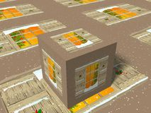 3d cube with christmas scene Royalty Free Stock Photography