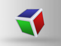 3d cube on gray background Royalty Free Stock Images