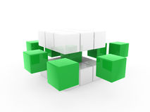3d cube green white. Square business concept puzzle Stock Photos