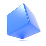 3d cube isolated on white. 3d Blue Cube Isolated on White Background Stock Images