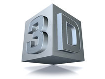 3D cube over white. 3d cube, isolated over white background Royalty Free Stock Photos
