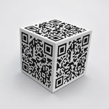 3D cube with QR code. Concept image Royalty Free Stock Photos