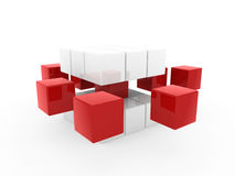 3d cube red white. Square business concept puzzle Royalty Free Stock Images