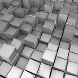 3d cube shape backdrop in silver chrome Stock Image