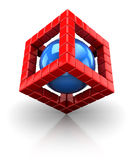 3d cube structure with sphere. Abstract 3d illustration of structure built with blocks and sphere inside Stock Images