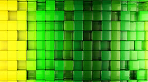 3D Cube World Green Background Stock Images