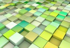 3d cubes различный зеленый цвет иллюстрация вектора