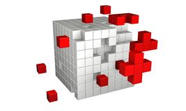 3d cubes. Shapes breaking away from the main group Stock Photo