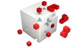 3d cubes. Shapes breaking away from the main group missing parts from group Stock Images