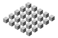 3D cubes. Vector illustration - 3D cubes in perspective Royalty Free Stock Photos