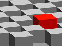 3D cubes. Illustration of gray 3D cubes with one red cube royalty free illustration