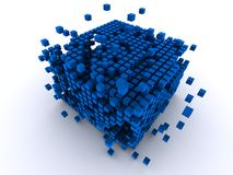 3d cubes. 3d rendered illustration of blue abstract cubes vector illustration