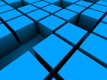3d cubes. 3d rendered illustration of blue cubes Stock Photos