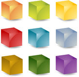 3d cubes. Multicolored 3d isometric cube  icon set illustration Stock Photo