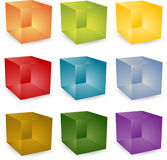 3d cubes. Blank editable 3d translucent cube icon set Royalty Free Stock Photos