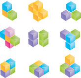 3d cubes. Set. only vector Royalty Free Stock Photos