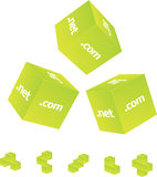 3d cubes. Dot com net org Royalty Free Stock Photos