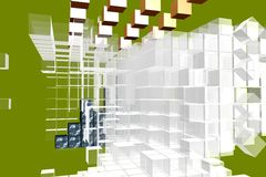 3d cubes analysis layout Royalty Free Stock Images