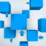 3d cubes with arrows Stock Photography
