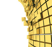 3D cubes background. 3d rendered illustration of gold abstract cubes Stock Photo