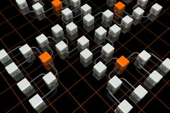 3D cubes background. 3D rendered illustration of cubes on the black background Stock Image