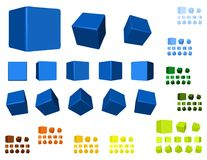 3d cubes color variation Stock Image