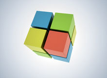 3D Cubes colored abstract background Stock Images