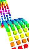 3D cubes - colorful wave 01. Colorful cubes in a row on white background Royalty Free Stock Image