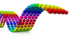 3D cubes - colorful wave 05 Stock Photo