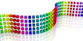 3D cubes - colorful wave 06 Royalty Free Stock Photos