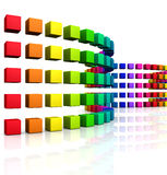 3D cubes - colorful wave 08 Stock Image