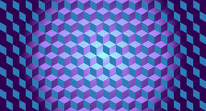 3D Cubes Illusion Background. Horizontal Panoramic Background - Vector Illustration Stock Images