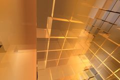3d cubes layout with simple light. 3d warm cubes background royalty free illustration