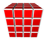 3d cubes in red and isolated on a white background Royalty Free Stock Photography