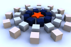 3d cubes with red star Royalty Free Stock Photography