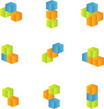 3d cubes set Stock Photos