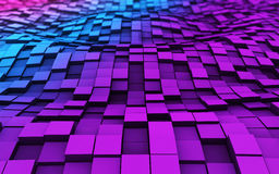 3d cubes in the waves. Colorful cubes in 3d space with reflection Royalty Free Stock Photos