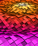3d cubes in the waves. Colorful cubes in 3d space with reflection Stock Images