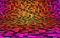 3d cubes in the waves. Colorful cubes in 3d space with reflection Stock Photos